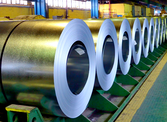 Close up photo of a row of steel coils at Alabama Steel Terminals