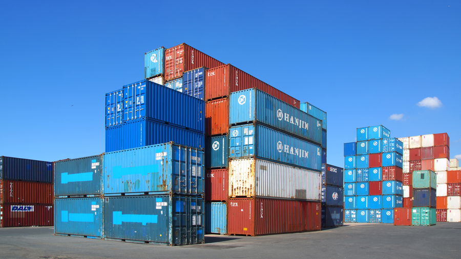 Stack of containers at a shipping port