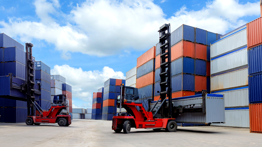Forklift moving containers AMWL whitepaper