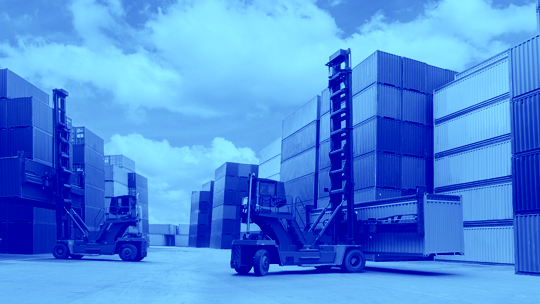 Forklift moving containers AMWL Whitepaper DUO