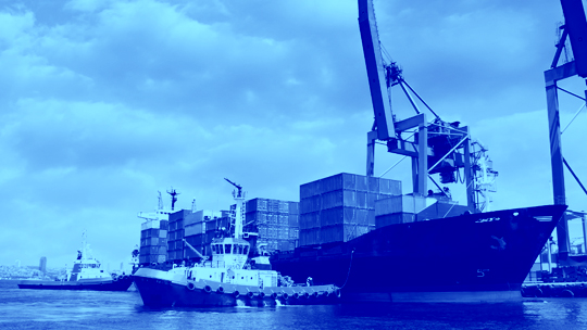 Tug boat with containers duotone IIG whitepaper